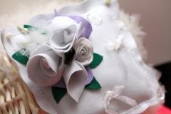 rose, feltro, tulle, fedi, cuscino, matrimonio, idee